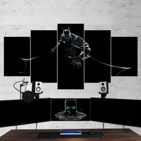 Batman 07 Dark Hero 5 Piece Canvas Wall Art Gaming Canvas