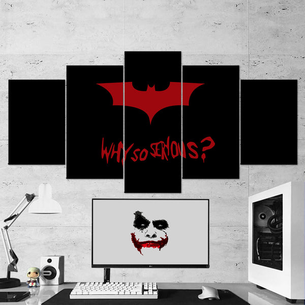 Batman 11 Joker - Why So Serious 5 Piece Canvas Wall Art Gaming Canvas