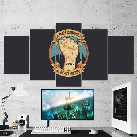 Bioshock 01 A Man Chooses a Slave Obeys 5 Piece Canvas Wall Art Gaming Canvas