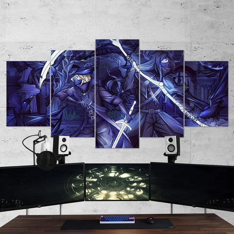 Bloodborne 19 Crow Cloak Bird Sword Mask Scythe Warrior 5 Piece Canvas Wall Art Gaming Canvas