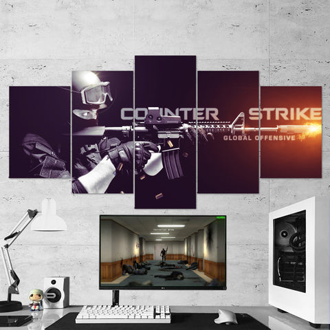 CS:GO Counter-Strike: Global Offensive 01 - 5 Piece Canvas Wall Art Gaming Canvas