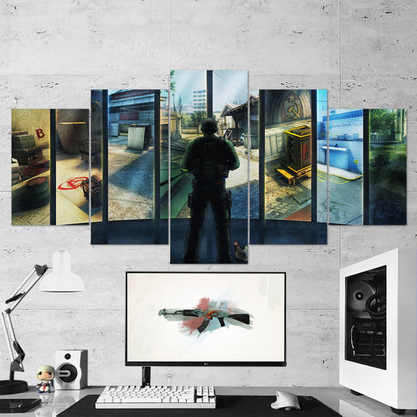CS:GO Counter-Strike: Global Offensive 05 - 5 Piece Canvas Wall Art Gaming Canvas