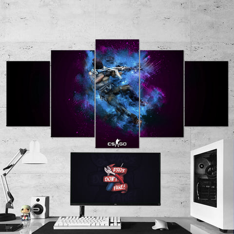 CS:GO Counter-Strike: Global Offensive 17 - 5 Piece Canvas Wall Art Gaming Canvas
