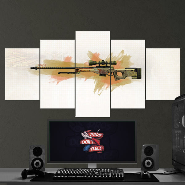 CS:GO Counter-Strike: Global Offensive 21 AWP 5 Piece Canvas Wall Art Gaming Canvas