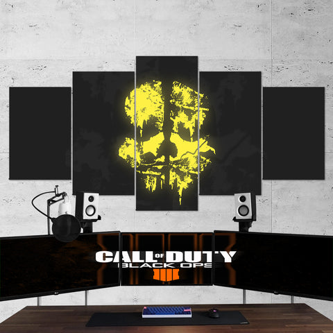 Call Of Duty Black Ops Skull Logo 5 Piece Canvas Wall Art Gaming Canvas 5PCCOD017