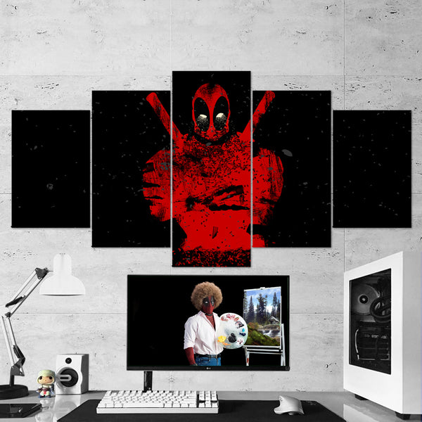 Deadpool 02 - 5 Piece Canvas Wall Art Gaming Canvas