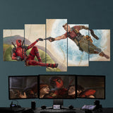 The Creation of Deadpool By Michelangelo (Turtle) 5 Piece Canvas Wall Art Gaming Canvas