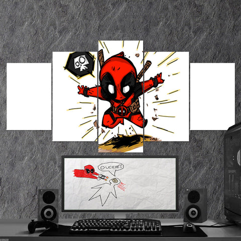 Deadpool 05 Art Work 5 Piece Canvas Wall Art Gaming Canvas