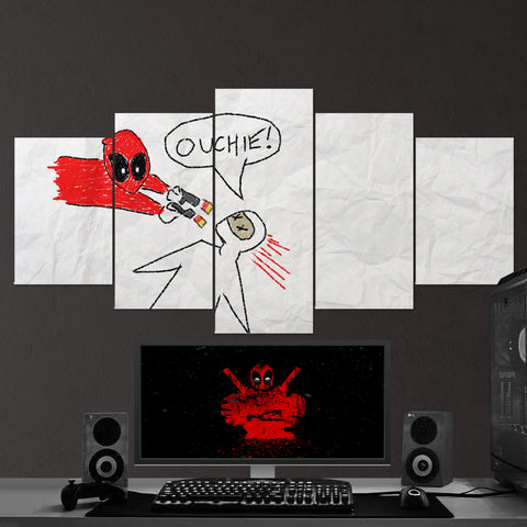 Deadpool 07 OUCHIE! 5 Piece Canvas Wall Art Gaming Canvas