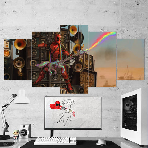Deadpool 16 Madmax Fury Road 5 Piece Canvas Wall Art Gaming Canvas