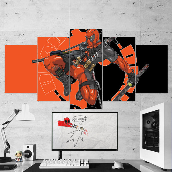 Deadpool 18 - 5 Piece Canvas Wall Art Gaming Canvas