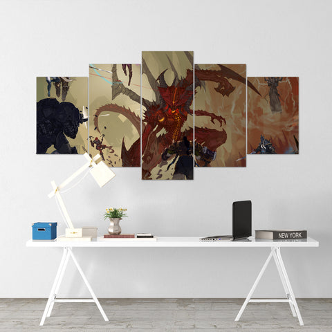 Diablo 02 - 5 Piece Canvas Wall Art Gaming Diablo Canvas