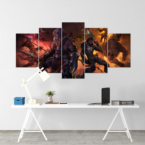 Diablo 11 - 5 Piece Canvas Wall Art Gaming Diablo Canvas