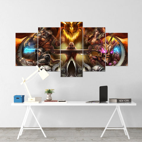 Diablo 21 - 5 Piece Canvas Wall Art Gaming Diablo Canvas