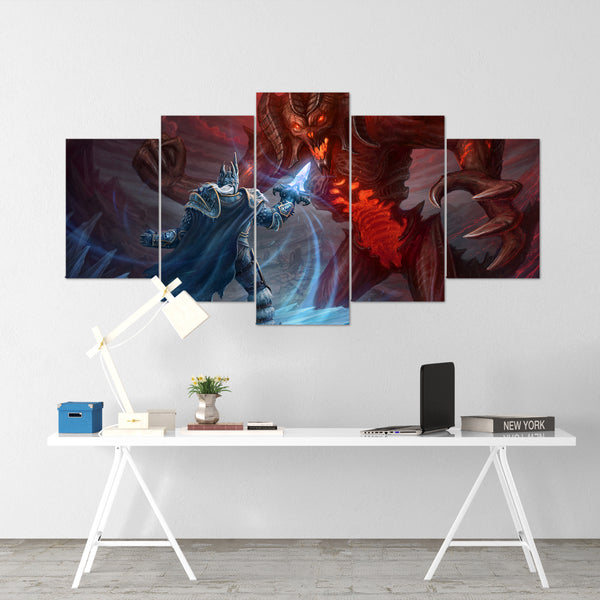 Lich King vs Diablo - 5 Piece Canvas Wall Art Gaming Diablo Canvas
