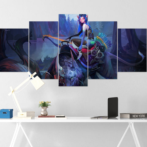 Dota Canvas Wall Art 10 - Luna Canvas Wall Art - Dota Poster - 5 Piece Canvas Wall Art - Dota 2 Wall Art - Dota Wall Hang