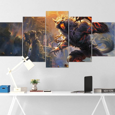 Dota Canvas Wall Art 14 - Fenrir Canvas Wall Art - Dota Poster - 5 Piece Canvas Wall Art - Dota 2 Wall Art - Dota Wall Hang