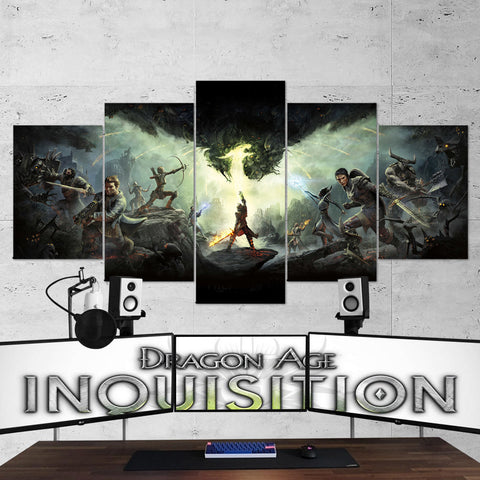 Dragon Age 02 Inquisition 5 Piece Canvas Wall Art Gaming Canvas
