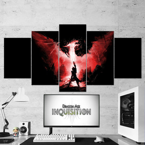 Dragon Age 03 Inquisition Art Work 5 Piece Canvas Wall Art Gaming Canvas