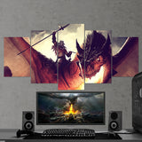 Dragon Fire 01 Art Work 5 Piece Canvas Wall Art Gaming Canvas
