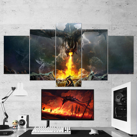 Dragon Fire 02 - 5 Piece Canvas Wall Art Gaming Canvas