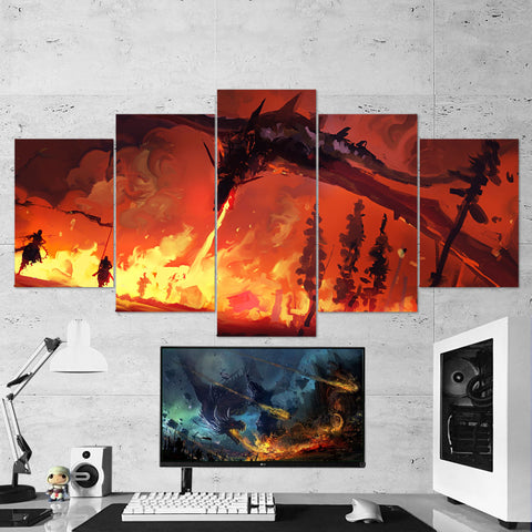 Dragon Fire 03 Art Work 5 Piece Canvas Wall Art Gaming Canvas