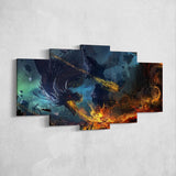 Dragon Fire 04 - 5 Piece Canvas Wall Art Gaming Canvas
