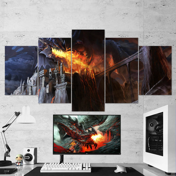 Dragon Fire 06 - 5 Piece Canvas Wall Art Gaming Canvas