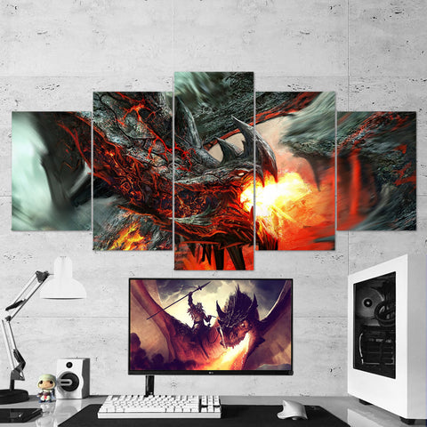 Dragon Fire 07 - 5 Piece Canvas Wall Art Gaming Canvas