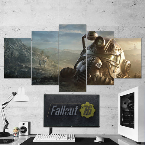Fallout Canvas 76 Power Armor Helmet 5 Piece Canvas Wall Art Gaming Canvas 5PCFO002