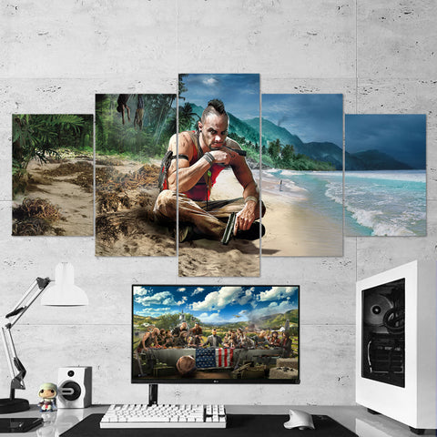 Far Cry 3 Vaas 5 Piece Canvas Wall Art Gaming Canvas 5PCFC005