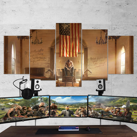 Far Cry 5 Cult 5 Piece Canvas Wall Art Gaming Canvas 5PCFC004