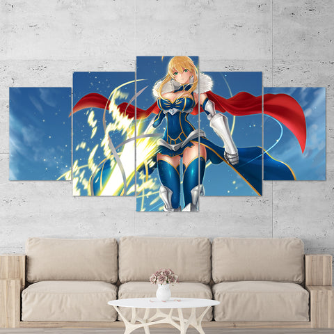 Fate - Stay Night 02 Saber Anime 5 Piece Canvas Wall Art Gaming Canvas