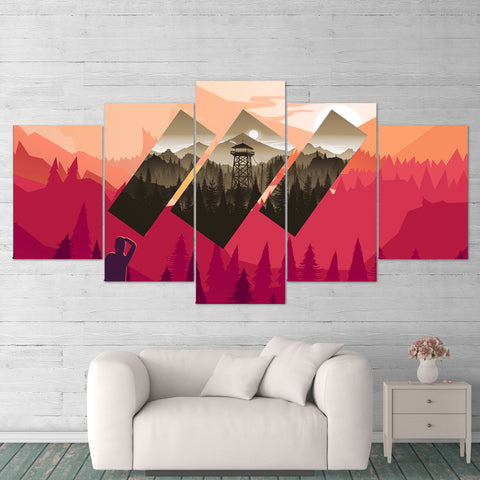 Firewatch 02 Abstract 5 Piece Canvas Wall Art Gaming Canvas