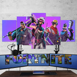Fortnite 04 Cyberpunk Heroes - 5 Piece Canvas Wall Art Gaming Canvas