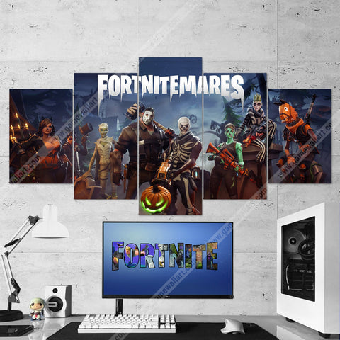 Fortnite 07 Fortnitemares Halloween 5 Piece Canvas Wall Art Gaming Canvas