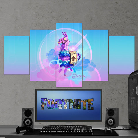 Fortnite 103 llama 5 Piece Canvas Wall Art Gaming Canvas