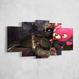 Fortnite 117 Ravage And Cuddle Team Leaader 5 Piece Canvas Wall Art Gaming Room Canvas