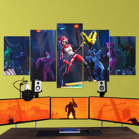 Fortnite 12 - 5 Piece Canvas Wall Art Gaming Canvas
