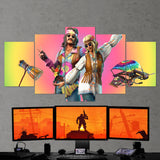 Fortnite 123 Dreamflower And Far Out Man 5 Piece Canvas Wall Art Gaming Room Canvas