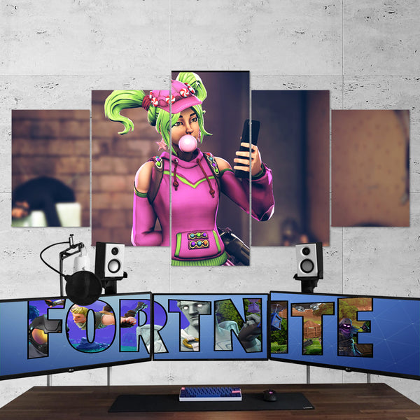 Fortnite Zoey 14 - 5 Piece Canvas Wall Art Gaming Canvas