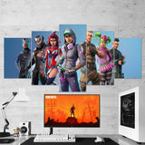 Fortnite Carbide, Omega, Valor, Teknique, Battlehawk, Zoey, Squad Leader 15 - 5 Piece Canvas Wall Art Gaming Canvas