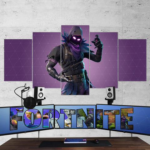 Fortnite Raven 25 - 5 Piece Canvas Wall Art Gaming Canvas