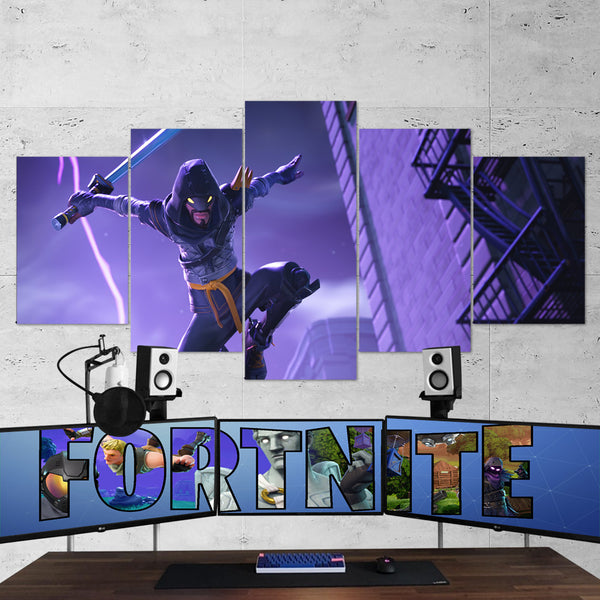 Fortnite Mythic Cloaked Star Ninja 36 - 5 Piece Canvas Wall Art Gaming Canvas