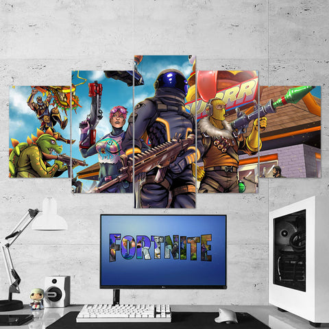 Fortnite Battle Royale 37 - 5 Piece Canvas Wall Art Gaming Canvas