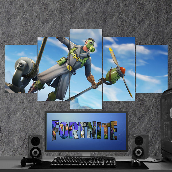 Fortnite Battle Royale Sky Stalker 40 - 5 Piece Canvas Wall Art Gaming Canvas