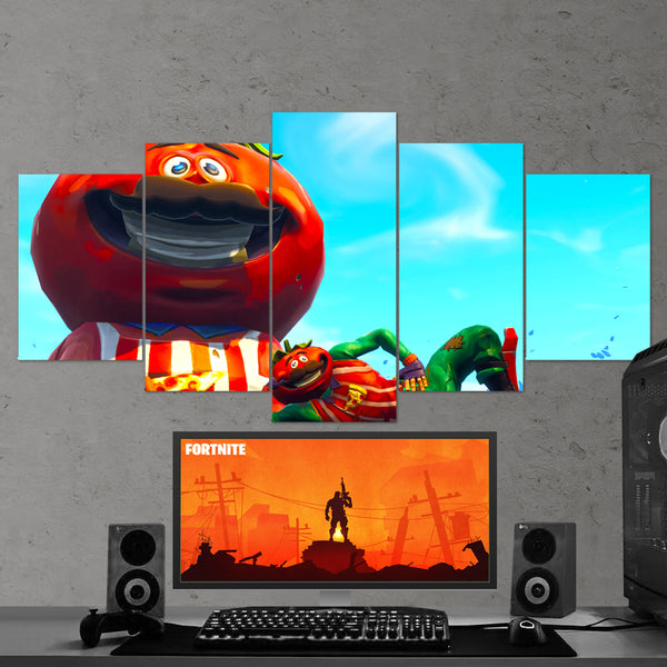 Fortnite Battle Royale Tomatohead 41 - 5 Piece Canvas Wall Art Gaming Canvas