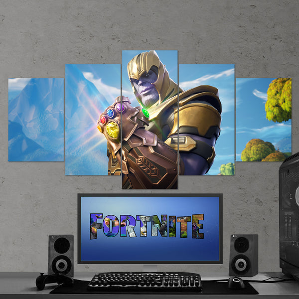 Fortnite Battle Royale Thanos in Fortnite 51 - 5 Piece Canvas Wall Art Gaming Canvas