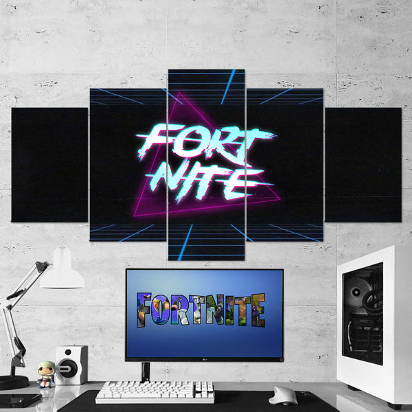 Fortnite Logo 52 - 5 Piece Canvas Wall Art Gaming Canvas