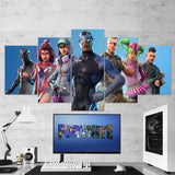 Fortnite Omega, Valor, Teknique, Carbide, Battlehawk, Zoey, Squad Leader 56 - 5 Piece Canvas Wall Art Gaming Canvas